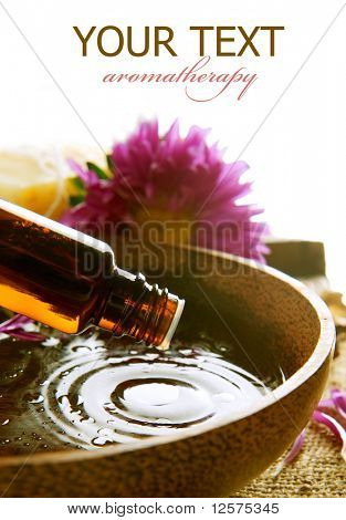 Aromatherapy.Essential oil isolated on white.Spa treatment