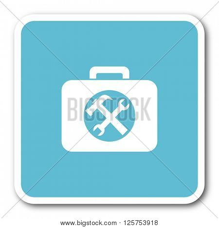 toolkit blue square internet flat design icon