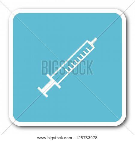 medicine blue square internet flat design icon