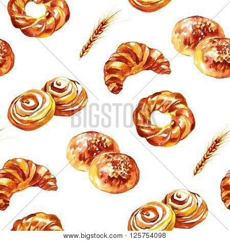 Watercolor sweet rolls pattern on white background