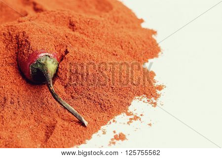 Seasoning, cooking. Chili pepper and powder spice