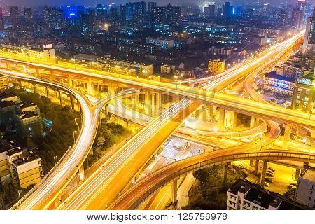 closeup of the city interchange at night in hangzhou China