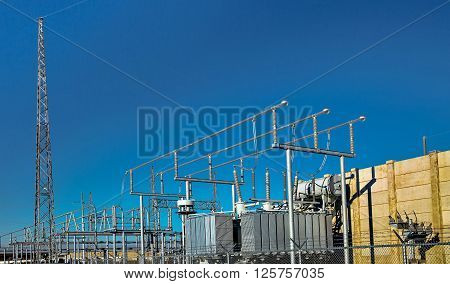 Electrical Substation on the background of blue sky