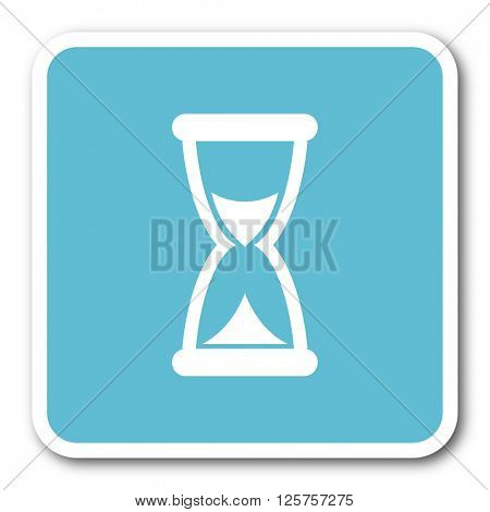 time blue square internet flat design icon