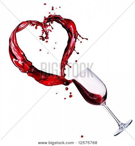 Glass of Red Wine Abstract Heart Splash
