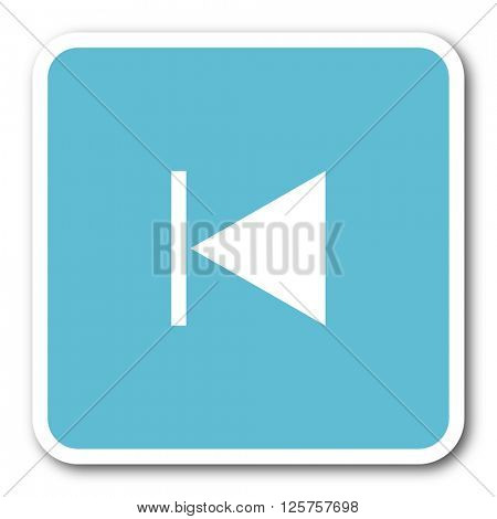 prev blue square internet flat design icon
