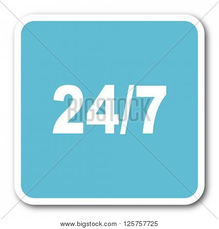 24/7 blue square internet flat design icon