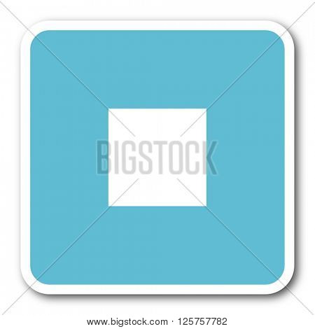 stop blue square internet flat design icon
