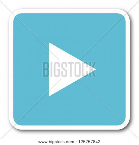 play blue square internet flat design icon