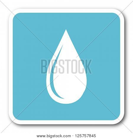 water drop blue square internet flat design icon