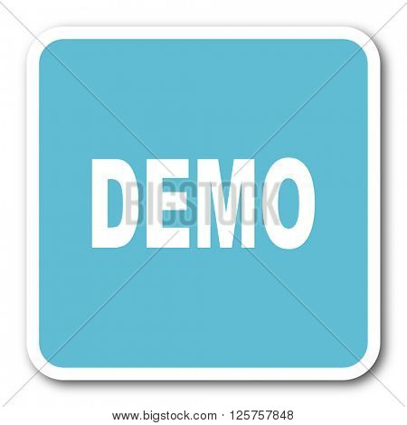 demo blue square internet flat design icon