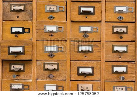 Old wooden card catalog