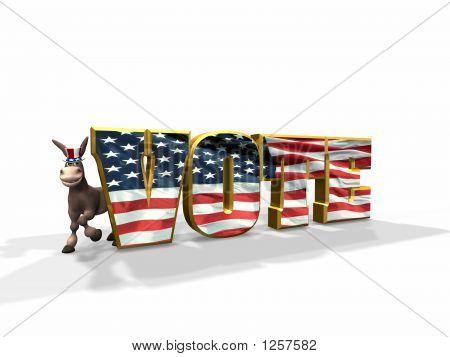 Vote Democratic - Donkey On The Left