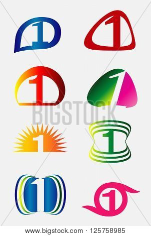 Number one logo icon set design vector