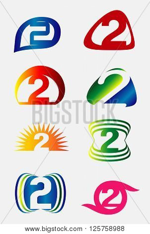 Abstract icons for number 2 logo set vector