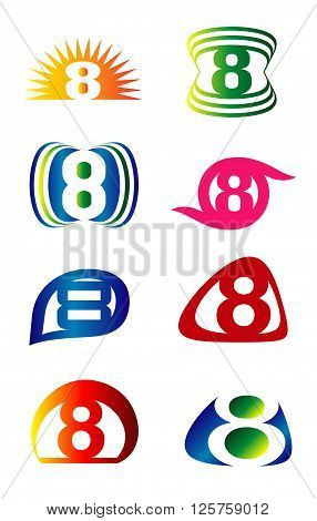 Number eight 8 logo icon set design vector