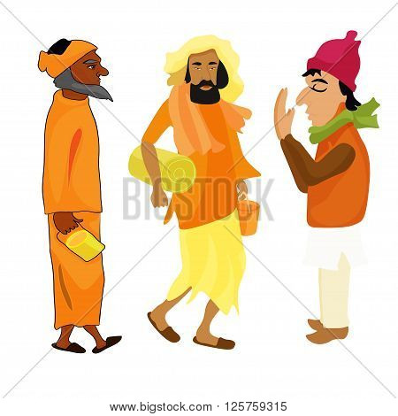 Indian set Yogi man in the orange garb. vector illustration