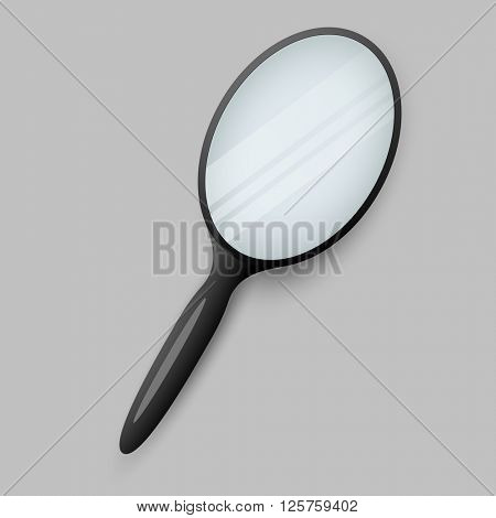 Hand mirror isolated on grey background vector illustration.