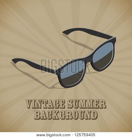 Retro flat isometric design sunglasses vector poster template.