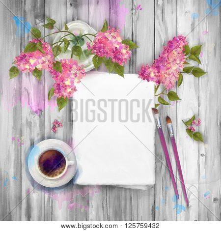 Spring  watercolor top view background with bouquet of lilac in a vase, blank paper sheet, paint brushes on wooden table