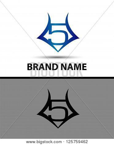 Number logo design.Number five logo.Logo 5 vector template
