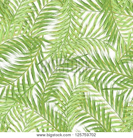 Seamless exotic pattern with green tropical leaves on a white background. Vector illustration. Watercolor imitation. Oil paint imitation. Not trace.