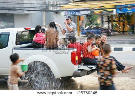 People In A Songkran Water Fight Festival In Chiangmai, Thailand