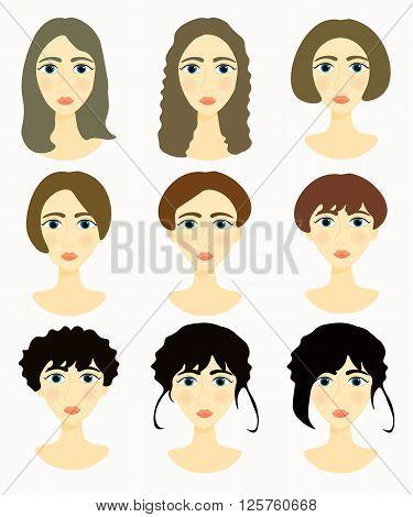 faces of women girls darkened hair. vector illustration
