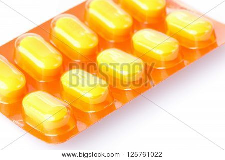 pills of medical for patient on white background