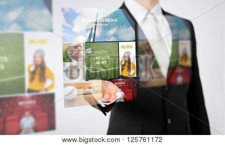 people, business, technology and mass media concept - close up of man hand showing web news projection