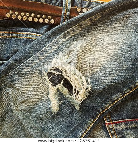 Denim Jeans Blue Old Torn Of Fashion Jeans Design