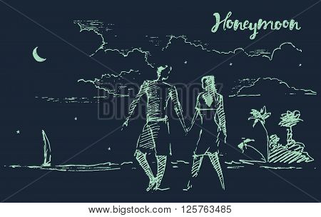 Beautiful hand drawn illustration of two lovers on honeymoon, at night beach, vector illustration, sketch