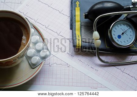 Tonometer cup of coffee and ECG results on the table