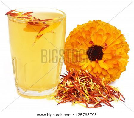 Herbal calendula flower with extract in a glass over white background
