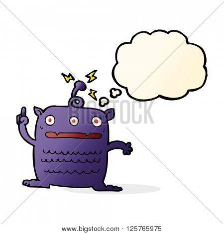 cartoon weird little alien with thought bubble
