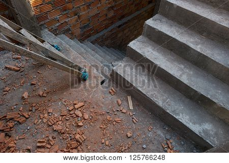 Staircase Cement Concrete Structure In Residential House Building Of Construction Industry
