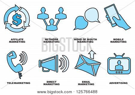Set of eight hand drawn icon designs for business marketing and promotion methods in shades of blue isolated on white background.