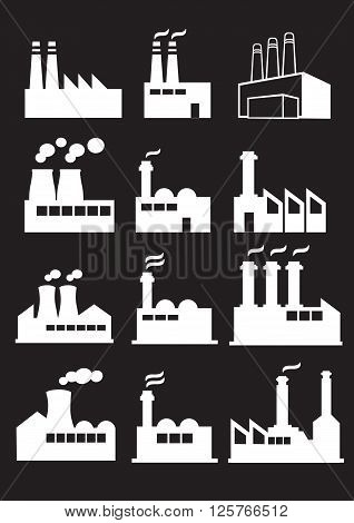 Set of twelve vector illustration of industrial factories with huge chimneys in white isolated on black background.