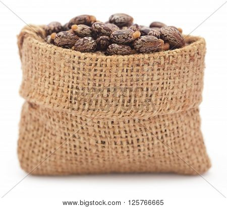 Castor beans in a jute bag over white background