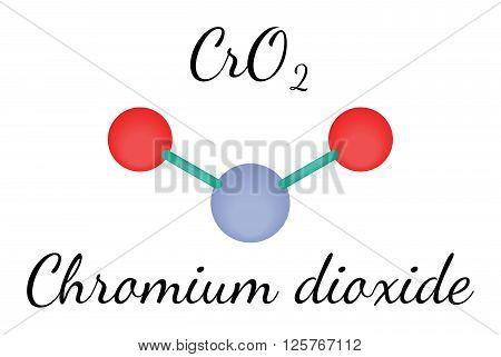 CrO2 chromium dioxide 3d molecule isolated on white