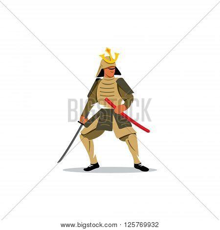 Warrior With Katana Sword on a white background