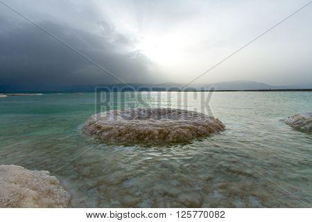 Beautiful photo coast of the Dead Sea Israel . Bokeh .