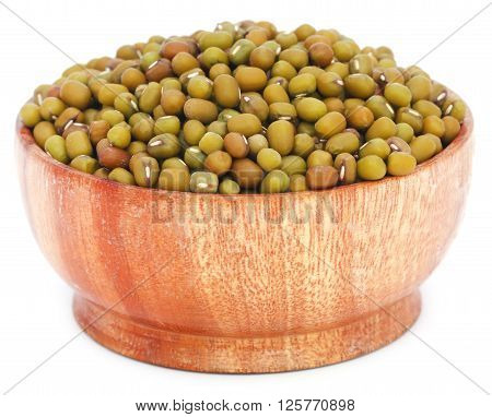 Mung bean in a bowl over white background