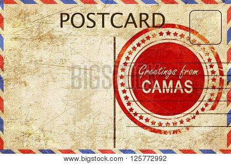 greetings from camas, stamped on a postcard