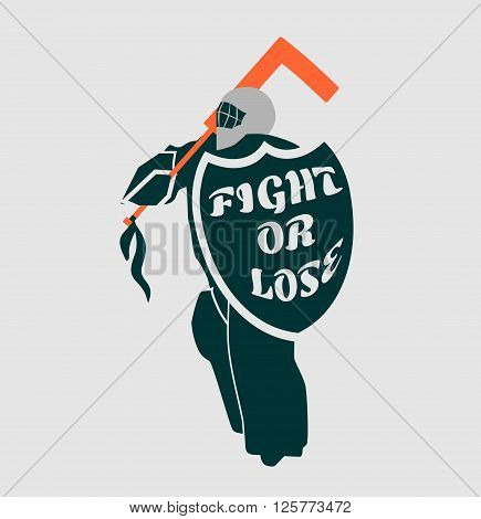 Vector illustration of ice hockey goalie with knight shield. Fight or lose motto. Sport metaphor. Sport relative quote