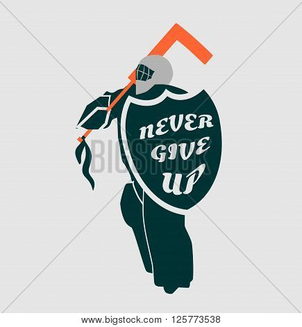 Vector illustration of ice hockey goalie with knight shield. Never give up motto. Sport metaphor. Sport relative quote