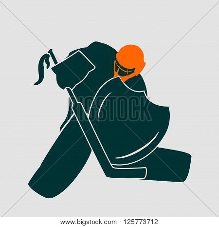 Vector illustration of ice hockey goalie with knight shield. Sport metaphor