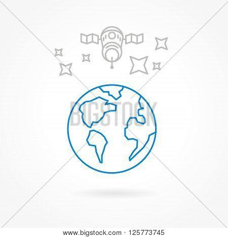 satellite icons lines style transportation receiver globe