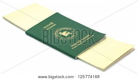 Close up of Passports of Bangladesh over white background