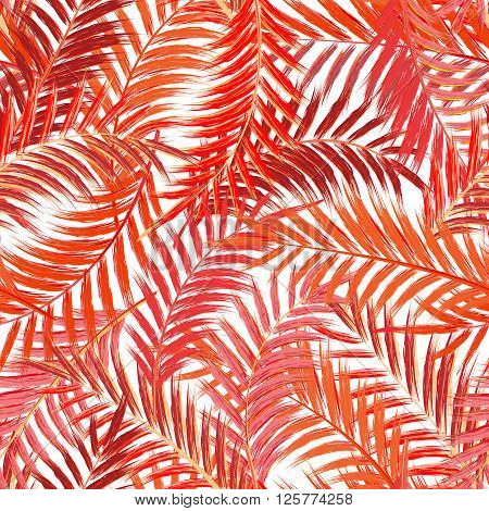 Leaves of palm tree. Seamless pattern. Palm leaf in red on white background. Tropical trees leaves.